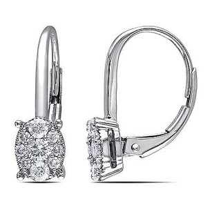 Amour Amour 14k White Gold 12 Ct Tdw Diamond Drop Dangle Leverback Earrings G-h I1-i2