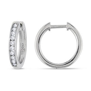 Amour Amour 14k White Gold 12 Ct Tdw Diamond Hoop Earrings H-i I1-i2