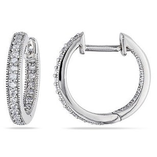Amour Amour 14k White Gold 14 Ct Tdw Diamond Hoop Earrings H-i I1-i2