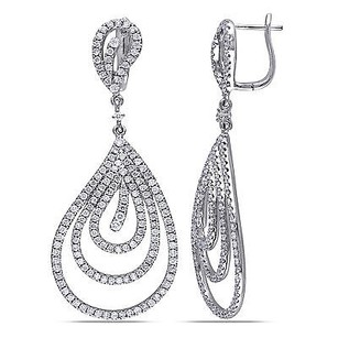 Amour Amour 14k White Gold Ct Tdw Diamond Teardrop Earrings G-h Si1-si2