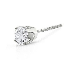 Amour Amour 14k White Gold Single Diamond Stud Earrings
