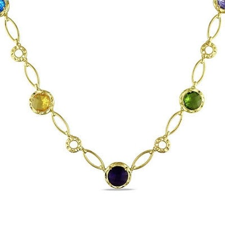 Amour Amour 18k Gold Overlay Created Multi-gemstone Color Fashion Necklace 16