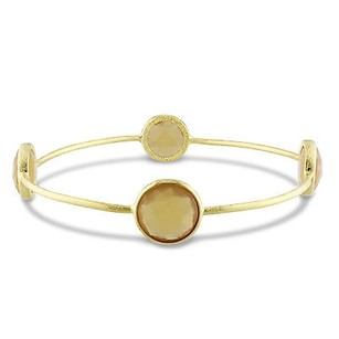 Amour Amour 22k Goldplated Brass Ct Tgw Gemstone Yellow Onyx Bangle Bracelet 8