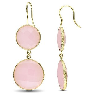 Amour Amour 22k Yellow Gold Overlay Ct Tgw Gemstone Rose Quartz Dangle Earrings