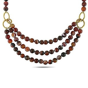 Amour Amour Goldtone 600 Ct Tgw Faceted Brown Agate 3-strand Necklace 18