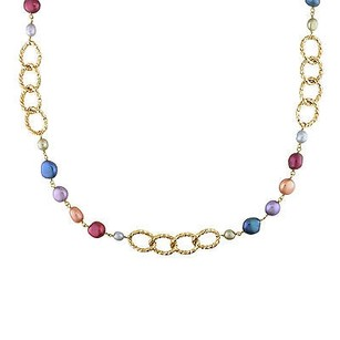 Amour Amour Multi-colored Freshwater Pearl Twisted Oval Link Necklace 7-9.5 Mm 35