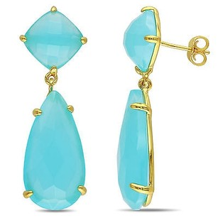 Amour Amour Pear And Cushion Sea Blue Chalcedony Dangle Butterfly Earrings