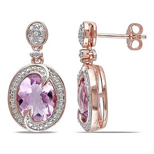 Amour Amour Rose Pink Sterling Silver Rose De France And Diamond Dangle Earrings