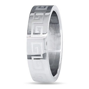 Amour Amour Stainless Steel Mens Engraved Band Ring