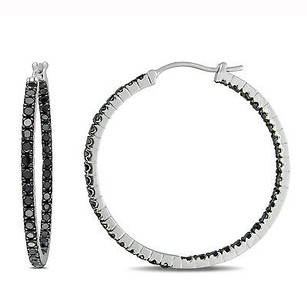 Amour Amour Sterling Silver 15 Ct Tdw Black Diamond Hoop Earrings