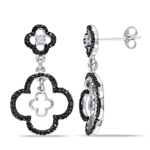 Amour Amour Sterling Silver 16 Ct Tdw Black And White Diamond Earrings H-i I2-i3