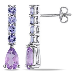 Amour Amour Sterling Silver Amethyst And Tanzanite Earrings