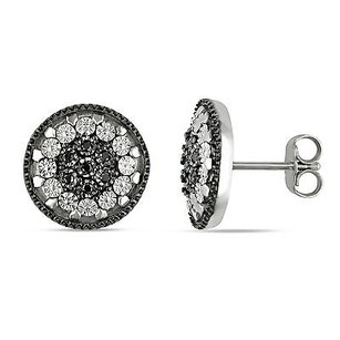 Amour Amour Sterling Silver Black And White Cubic Zirconia Halo Stud Earrings