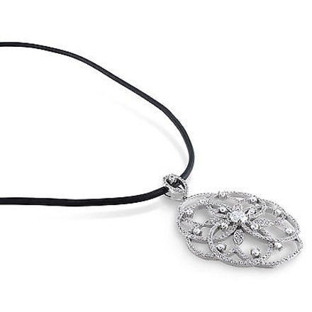 Amour Amour Sterling Silver Cubic Zirconia Flower Pendant Necklace 24 Black Cord