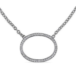Amour Amour Sterling Silver Cubic Zirconia Oval Necklace 18 Chain Lobster Claw Clasp