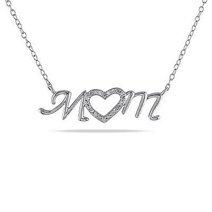 Amour Amour Sterling Silver Diamond Accent Mom Heart Pendant Necklace 18