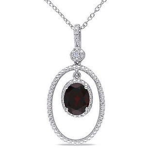 Amour Amour Sterling Silver Garnet And Diamond Accent Pendant Necklace G-h 18