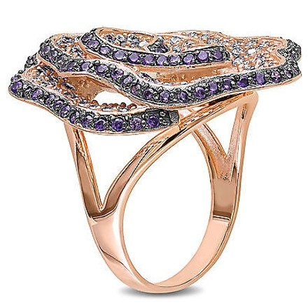 Amour Amour Sterling Silver Purple And White Cubic Zirconia Cocktail Ring Ct Tgw