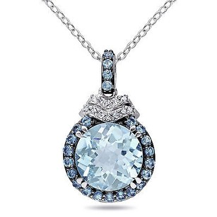 Amour Amour Sterling Silver Sky Blue Topaz And Diamond Accent Pendant Necklace 18