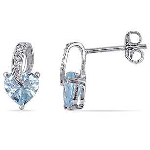 Amour Amour Sterling Silver Sky Blue Topaz And Diamond Accent Stud Earrings