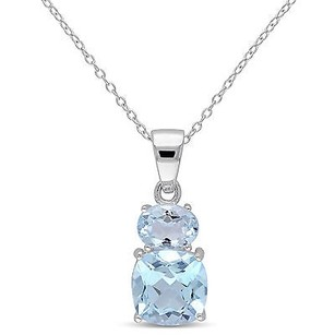 Amour Amour Sterling Silver Sky Blue Topaz Pendant Necklace 18