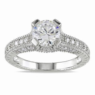 Amour Amour Sterling Silver White Pave-set Cubic Zirconia Engagement Ring
