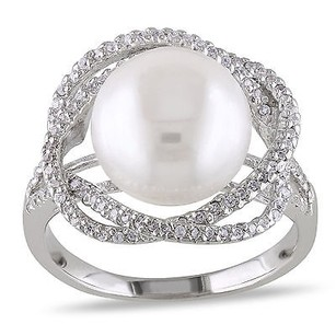 Amour Amour Sterling Silver White Pearl And Cubic Zirconia Cocktail Ring 10-11 Mm
