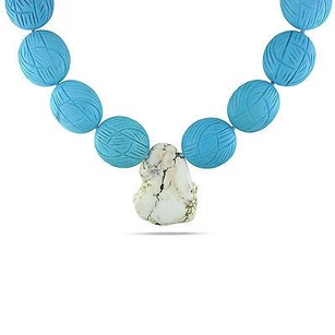 Amour Amour Sterling Silvertone Turquoise And Quartz Bead Necklace 18