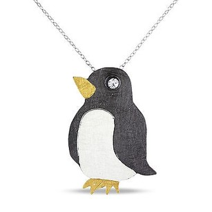 Amour Amour Three-tone Silver Cubic Zirconia Penguin Pendant Necklace 18