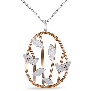 Amour Amour Two-tone Silver Marcasite Leaf Pendant Necklace 18