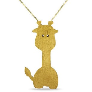 Amour Amour Yellow Sterling Silver Marcasite Giraffe Pendant Necklace 18