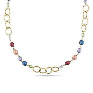 Amour Brass Yellow Rhodium Plated Multi-color Pearl Goldtone Brushed Oval Necklace 35