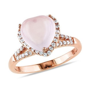 Amour Pink Sterling Silver Ct 10mm Heart Love Shape Rose Quartz Cz Ring