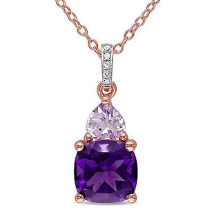 Amour Rose Pink Sterling Silver Multi-gemstone Diamond Accent Pendant Necklace 18