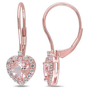 Amour Rose Sterling Silver Morganite Sapphire Diamond Heart Dangle Leverback Earrings