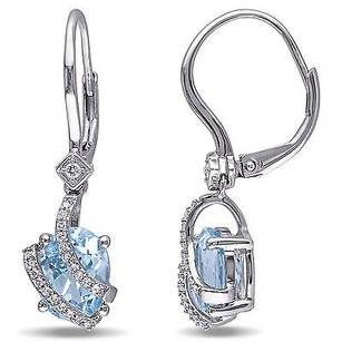 Amour Silver Multi-gemstone And 18 Ct Tdw Diamond Dangle Leverback Earrings G-h I2-i3