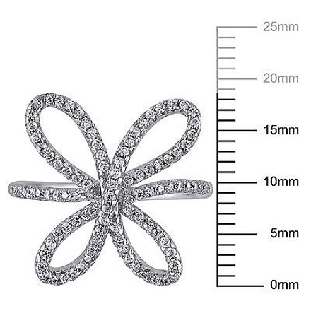 Amour Sterling Silver 0.45 Ct Tgw Cubic Zirconia Flower Cocktail Cluster Fashion Ring