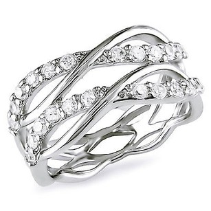 Amour Sterling Silver 1.20 Ct 1.8mm Cz Criss-cross Ring