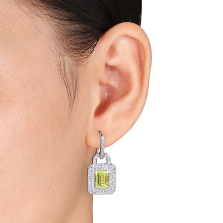 Amour Sterling Silver 13 Ct Tgw Yellow And White Cubic-zirconia Dangle Earrings