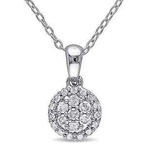 Amour Sterling Silver 14 Ct Tdw Diamond Halo Pendant Necklace H-i I2-i3 18