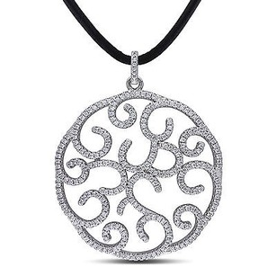 Amour Sterling Silver 3.3 Ct Cubic Zirconia Circle Design Fashion Pendant
