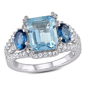 Amour Sterling Silver 34 Carat Tgw Sky London Blue Topaz Sapphire Three-stone Ring