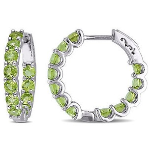 Amour Sterling Silver 45 Ct Tgw Peridot Hoop Earrings 925