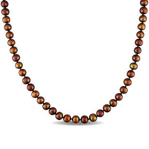 Amour Sterling Silver 6.5-7 Mm Brown Cultured Freshwater Pearl Necklace