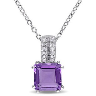 Amour Sterling Silver Amethyst And Diamond Accent Drop Pendant Necklace 18