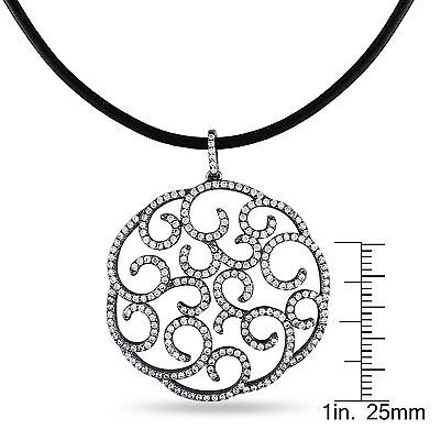 Amour Sterling Silver Black Cubic Zirconia Circle Design Pendant 18 Chain