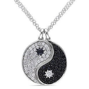 Amour Sterling Silver Black Spinel And White Sapphire Yin Yang Pendant Necklace 18
