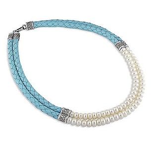 Amour Sterling Silver Blue Leather Necklace 7-7.5mm Freshwater Button Pearls 2-row 18
