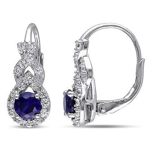 Amour Sterling Silver Created Blue And White Sapphire Drop Dangle Leverback Earrings