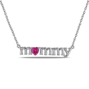 Amour Sterling Silver Created Ruby Mommy Pendant Necklace 18
